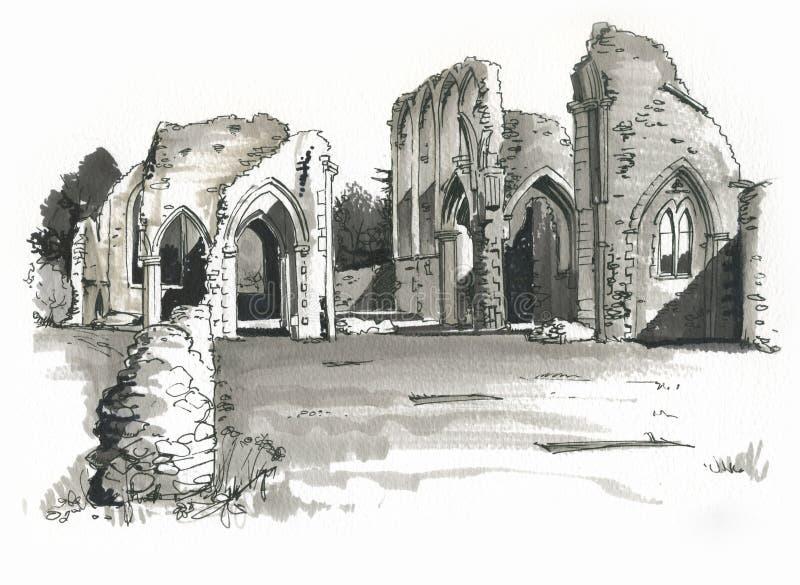 Esboço da abadia de Creake, Norfolk, Reino Unido ilustração royalty free