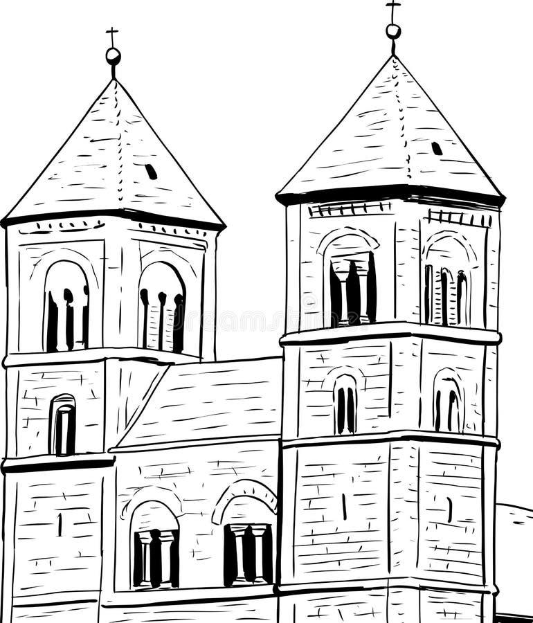 Esboço da abadia de Quedlinburg ilustração royalty free
