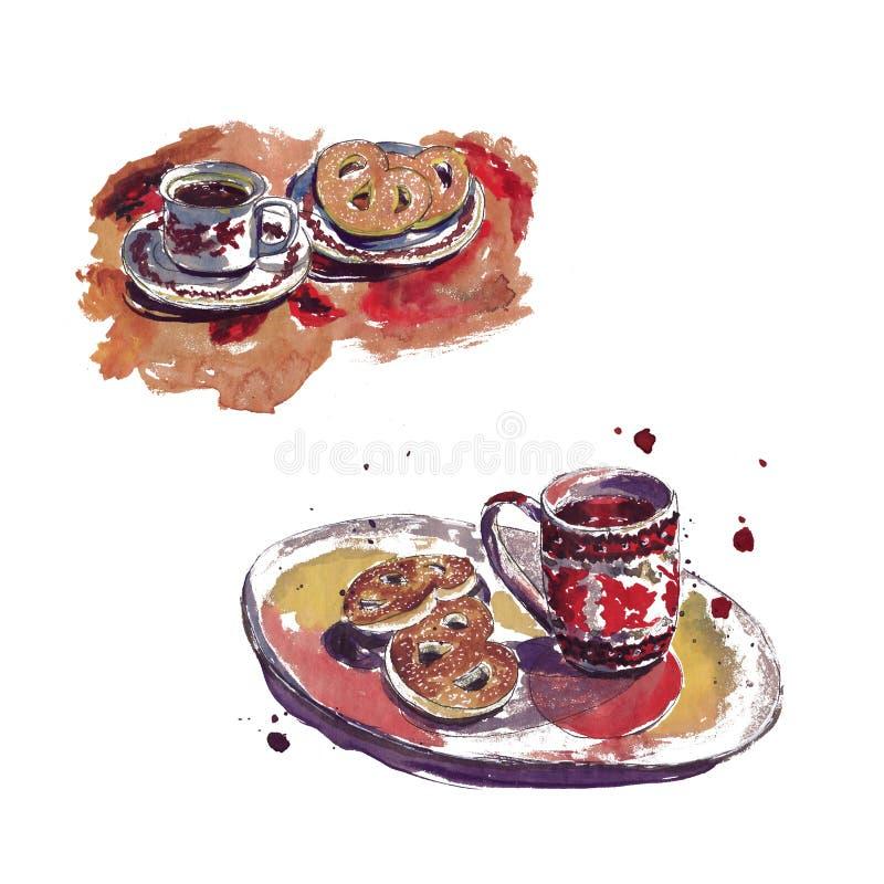 Esboço da aquarela com os pontos no café - os copos, café, endurecem ilustração stock