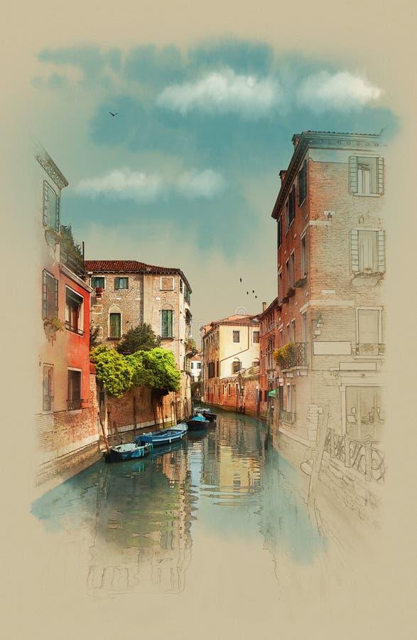 Esboço da aquarela de um canal em Veneza, Itália ilustração do vetor