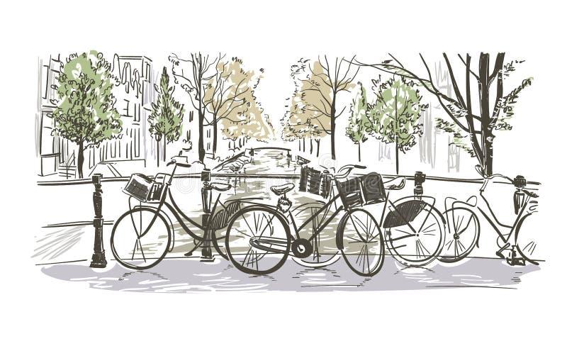 Esboço da aquarela do esboço da ilustração do vetor das bicicletas de Amsterdão ilustração royalty free