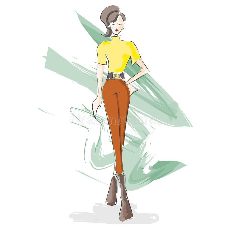 Esboço da aquarela da ilustração do projeto da forma Autumn Fashion ilustração stock