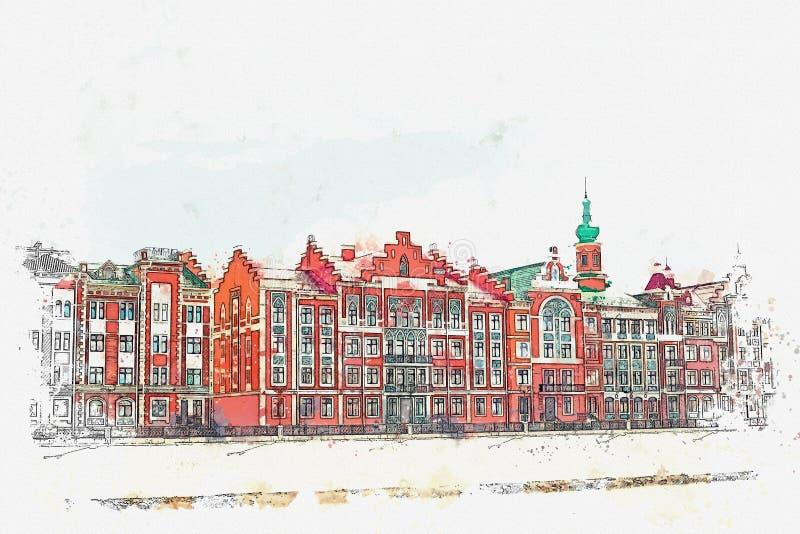 Esboço da aquarela ou ilustração da arquitetura europeia tradicional no estilo belga ilustração royalty free