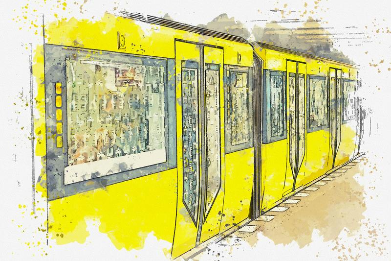 Esboço da aquarela ou ilustração do metro em Berlim ilustração royalty free