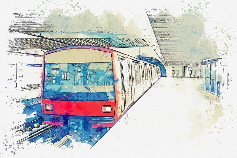Esboço da aquarela ou ilustração do metro em Lisboa em Portugal ilustração royalty free