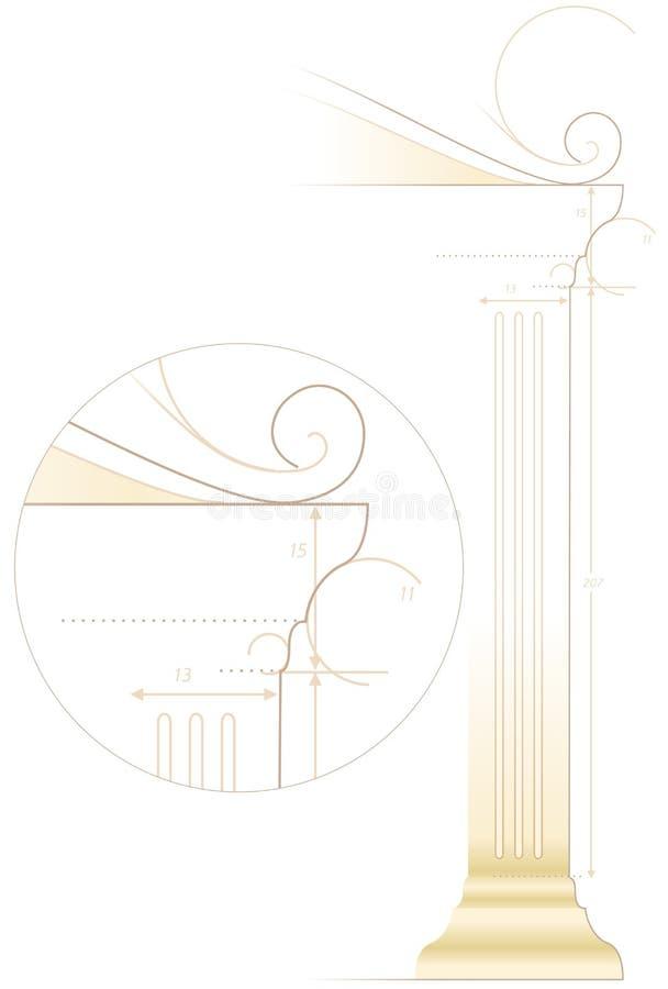 Esboço da arquitetura da coluna ilustração stock