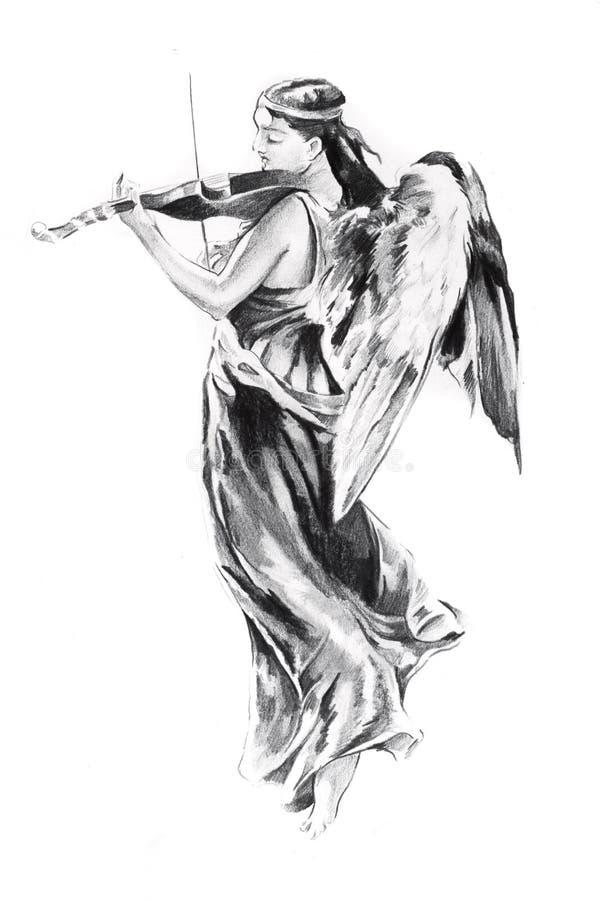 Esboço da arte do tatuagem, anjo ilustração do vetor