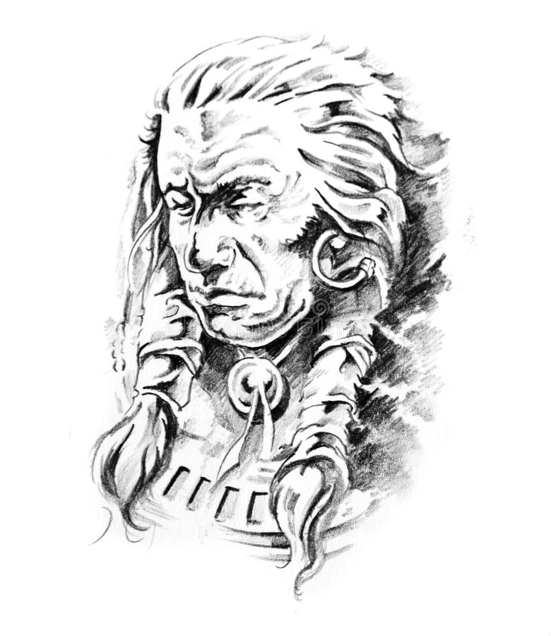 Esboço da arte do tatuagem, cabeça indiana ilustração stock