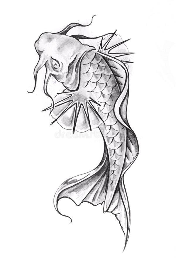 Esboço da arte do tatuagem, goldfish ilustração stock
