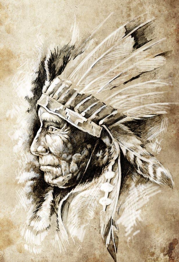 Esboço da arte do tatuagem, indian do nativo americano ilustração stock