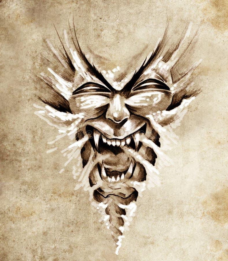 Esboço da arte do tatuagem, máscara agressiva do monstro ilustração stock
