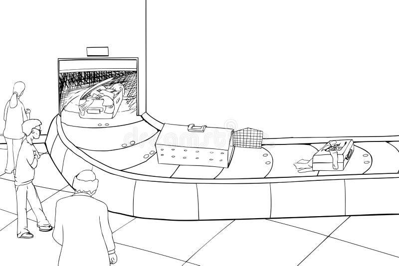 Esboço da bagagem danificada no carrossel ilustração do vetor