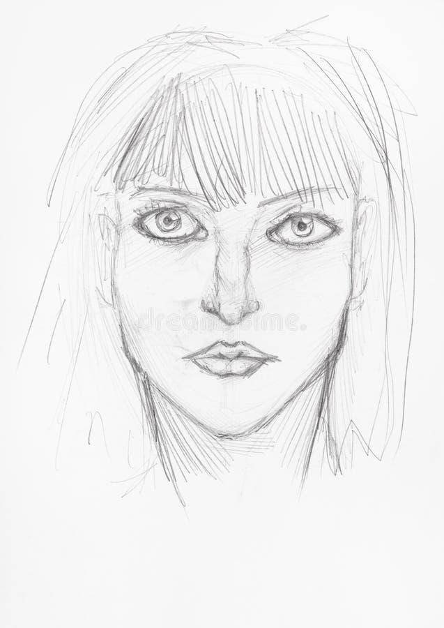Esboço da cabeça da menina com a cara séria pelo lápis ilustração do vetor