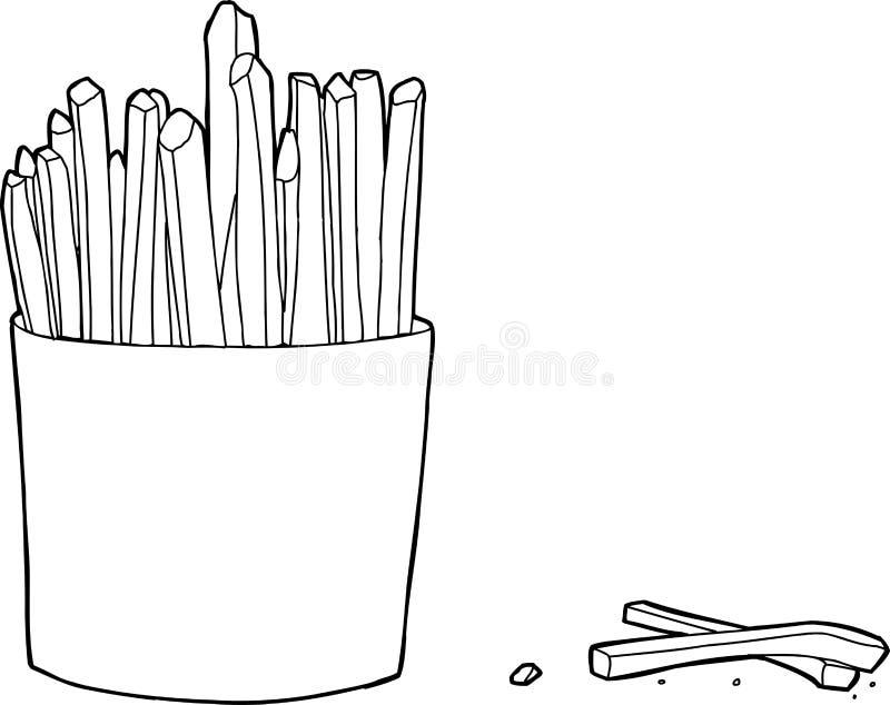 Esboço da caixa das batatas fritas ilustração royalty free
