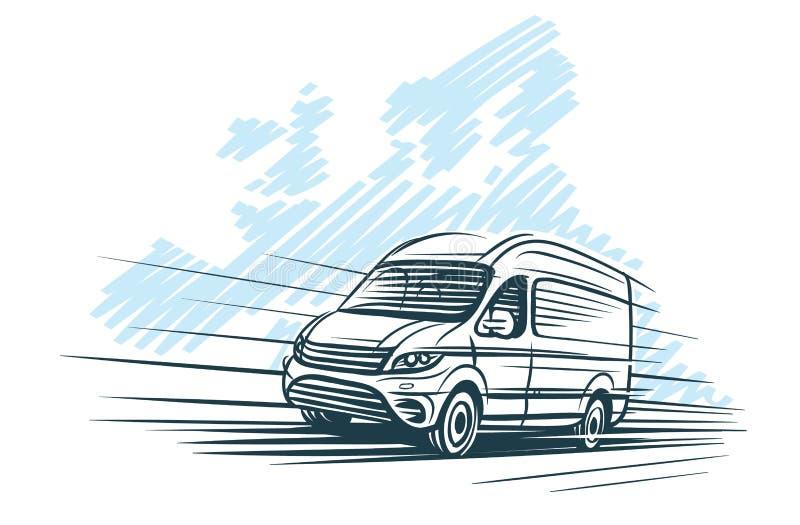 Esboço da camionete na frente do esboço europeu do mapa Vetor ilustração do vetor