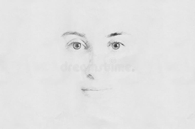 Esboço da cara da mulher fotografia de stock
