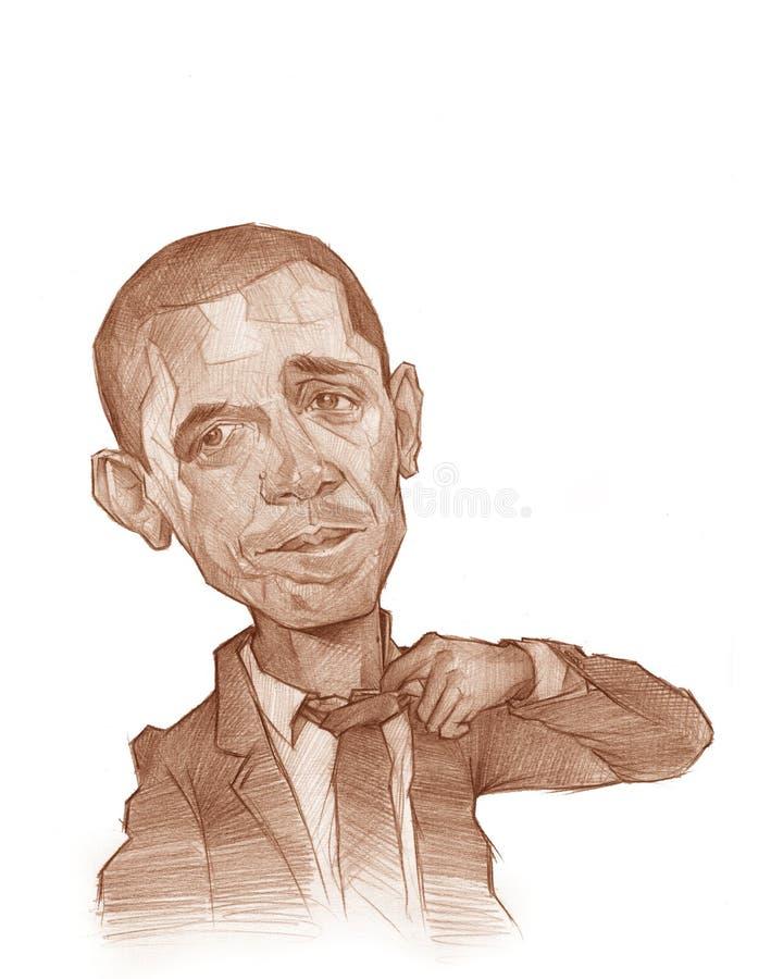 Esboço da caricatura de Barack Obama ilustração royalty free