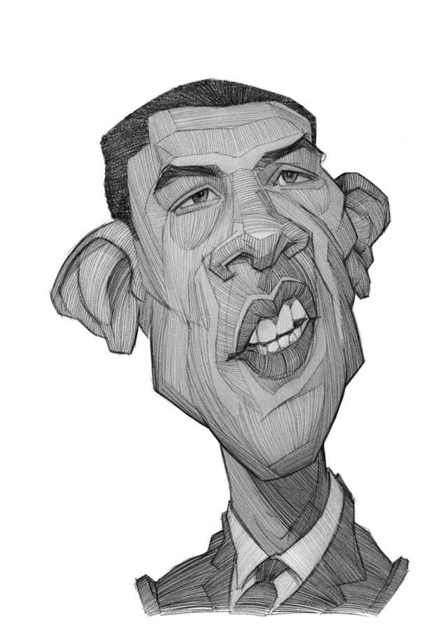 Esboço da caricatura de Barack Obama imagens de stock royalty free