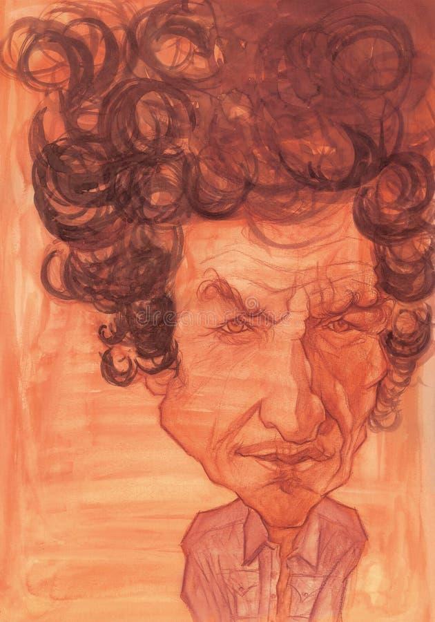 Esboço da caricatura de Bob Dylan ilustração stock