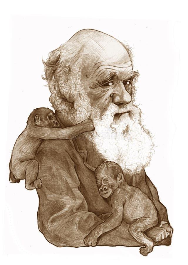 Esboço da caricatura de Charles Darwin ilustração royalty free