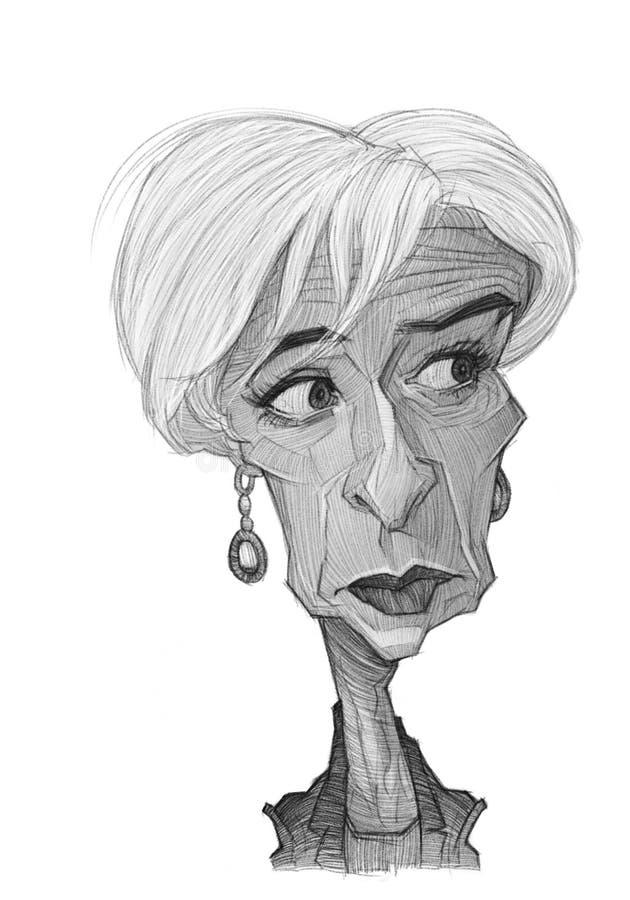 Esboço da caricatura de Christine Lagarde ilustração stock