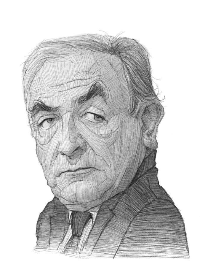 Esboço da caricatura de Dominique Strauss Khan ilustração royalty free