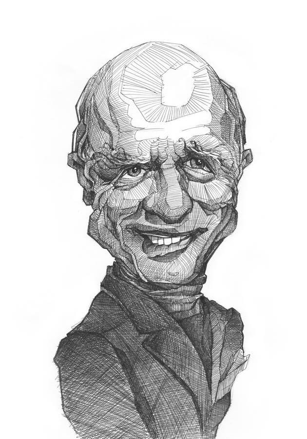 Esboço da caricatura de Ed Harris ilustração stock