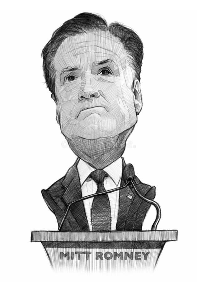 Esboço da caricatura de Mitt Romney ilustração stock