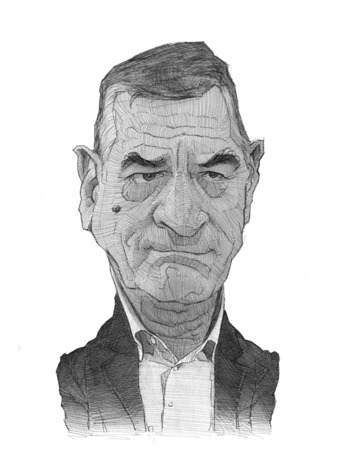 Esboço da caricatura de Robert De Niro ilustração do vetor