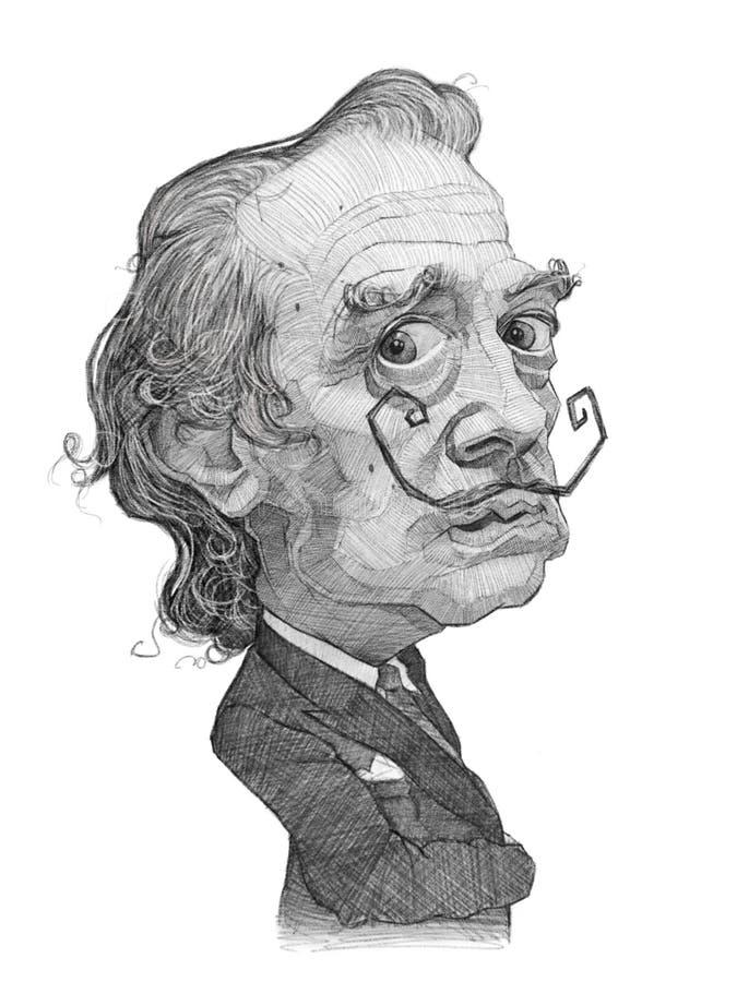 Esboço da caricatura de Salvador Dali ilustração royalty free