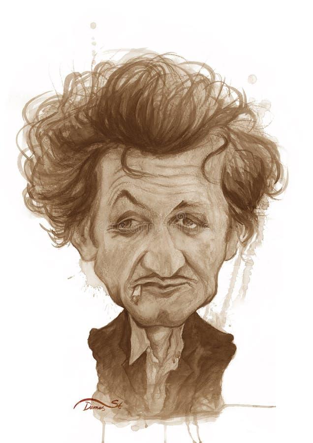 Esboço da caricatura de Sean Penn ilustração royalty free
