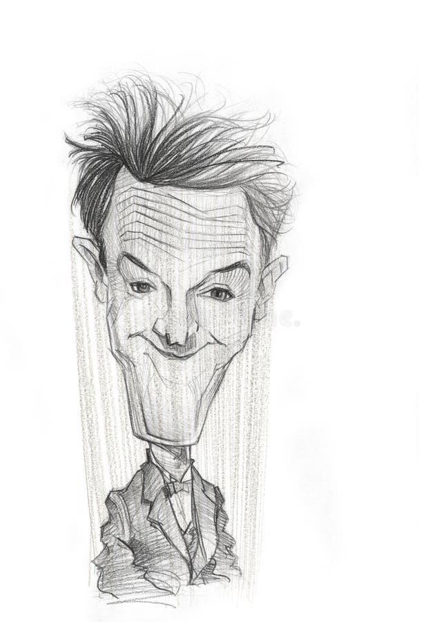 Esboço da caricatura de Stan Laurel ilustração royalty free