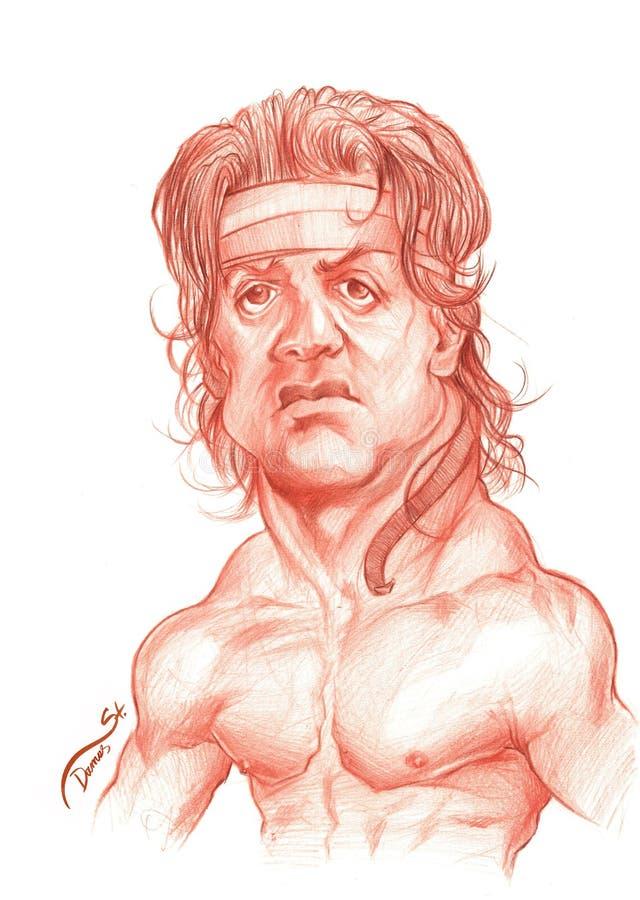 Esboço da caricatura de Sylvester Stallone ilustração royalty free