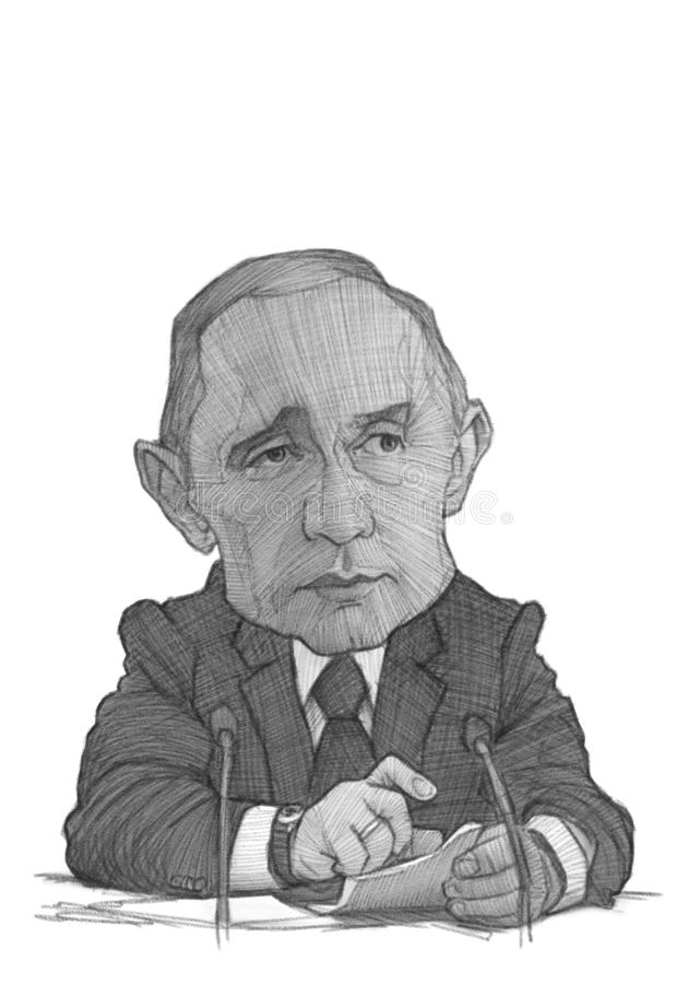 Esboço da caricatura de Vladimir Putin fotografia de stock royalty free