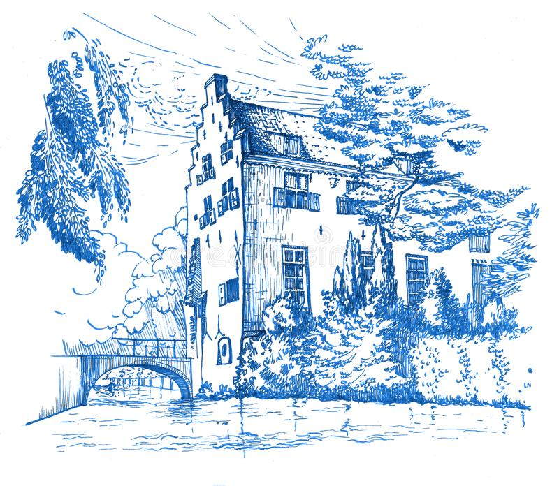 Esboço da casa histórica em Amersfoort, Países Baixos ilustração royalty free