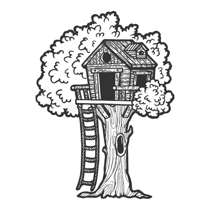 Esboço da casa na árvore que grava o vetor ilustração do vetor