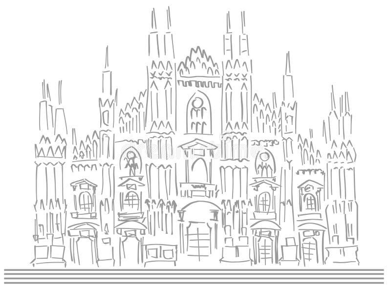 Esboço da catedral de Milão ilustração do vetor
