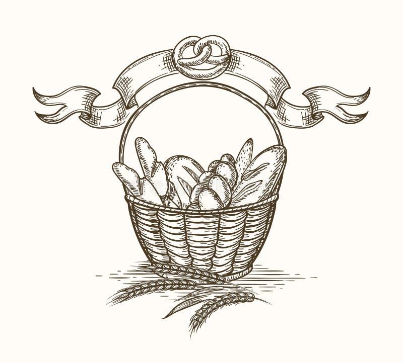 Esboço da cesta da padaria do trigo ilustração stock