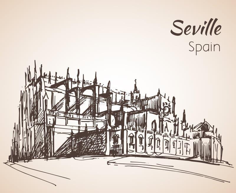 Esboço da cidade Sevilha de spain A catedral de St Mary do ilustração do vetor