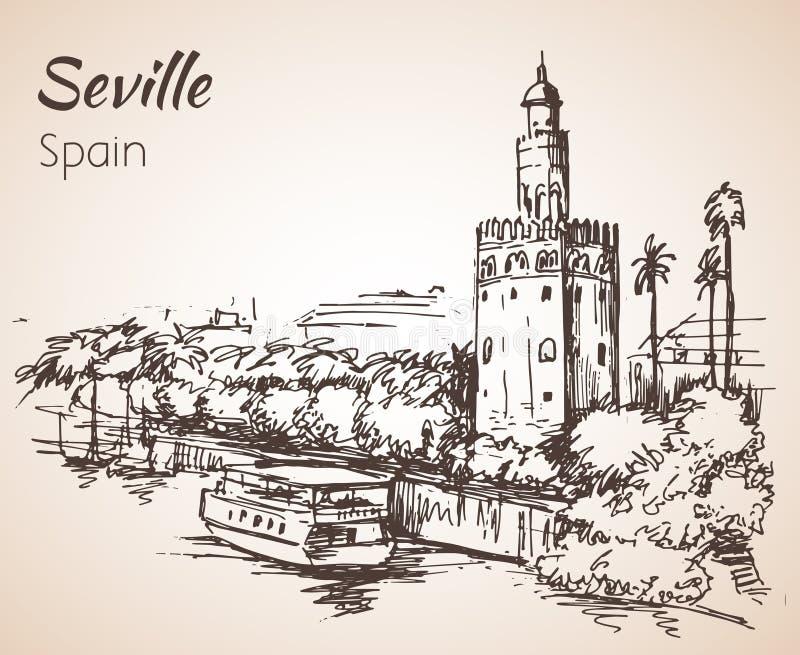 Esboço da cidade Sevilha de spain Torre del Oro ilustração royalty free