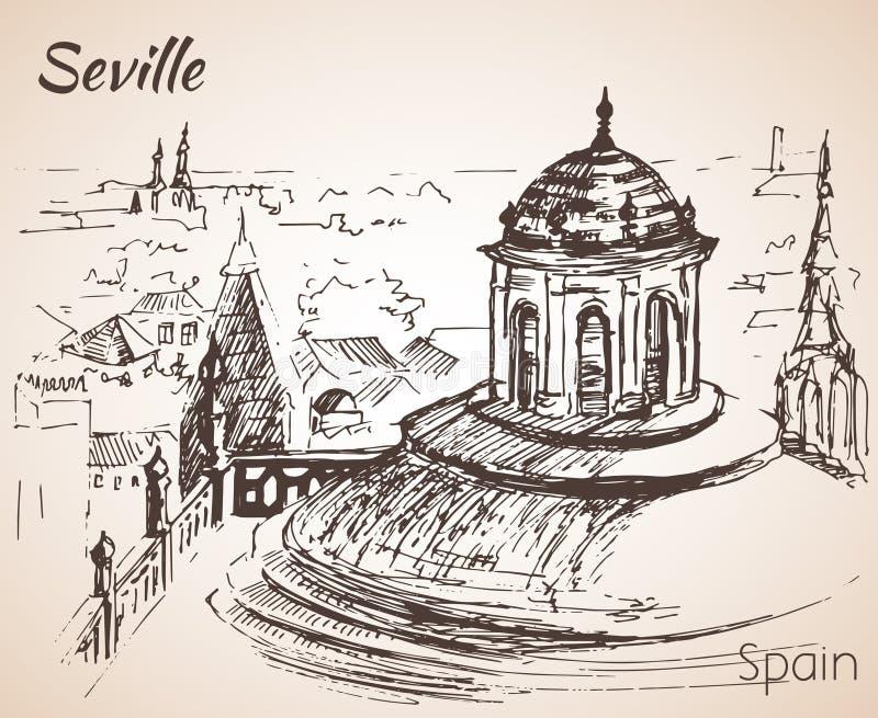 Esboço da cidade Sevilha de spain Torre Giralda ilustração do vetor