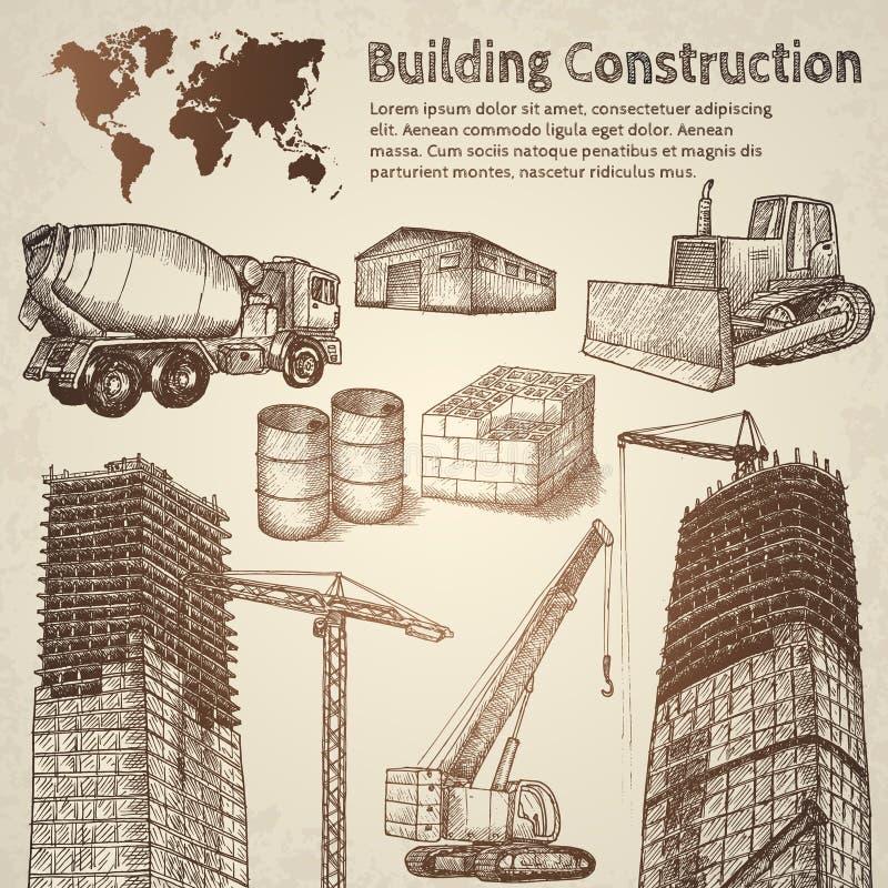 Esboço da construção civil ilustração stock
