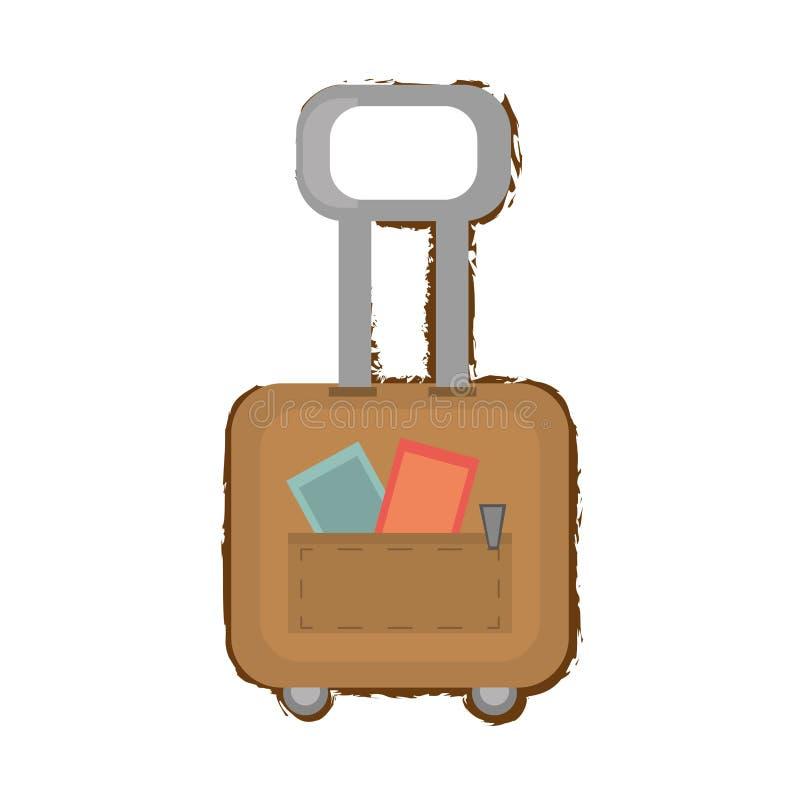 esboço da cor do punho do equipamento do curso da bagagem da mala de viagem ilustração royalty free