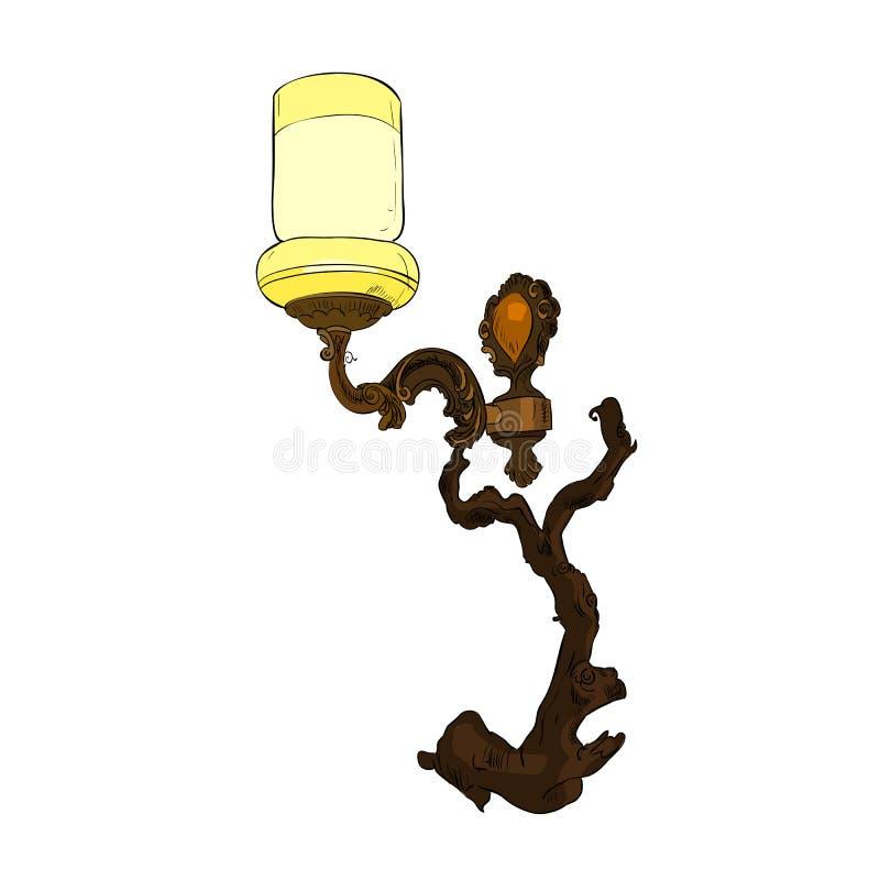 Esboço da cor do vetor do candelabro de parede ilustração do vetor