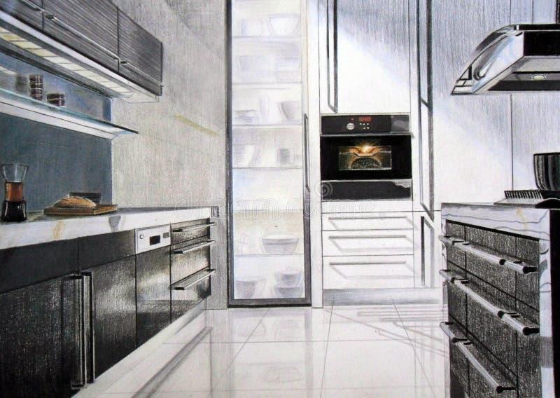 Esboço da cozinha ilustração royalty free