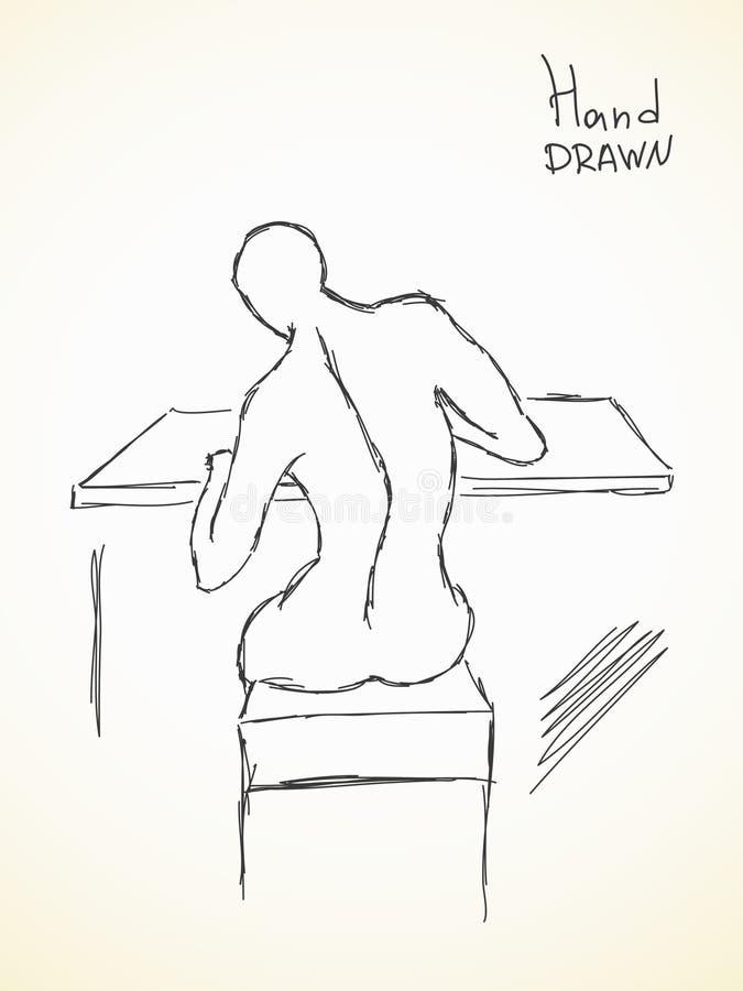 Esboço da curvatura da espinha ilustração stock