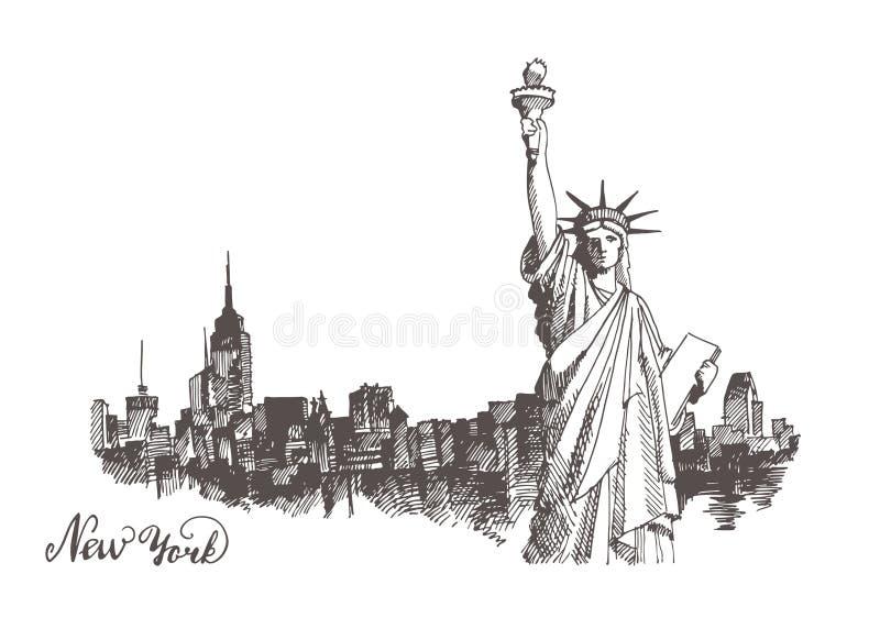 Esboço da estátua da liberdade ilustração do vetor