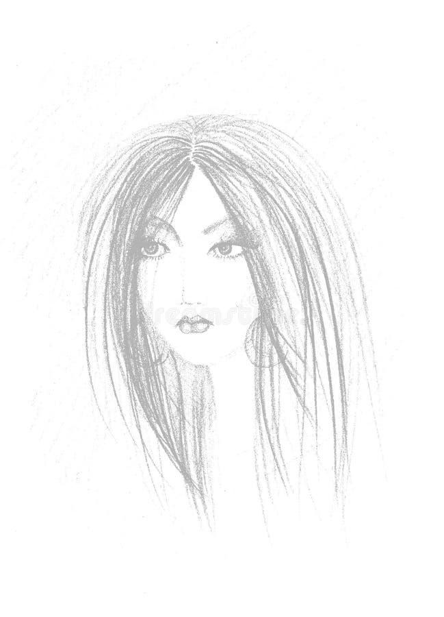 Esboço da face da mulher ilustração do vetor