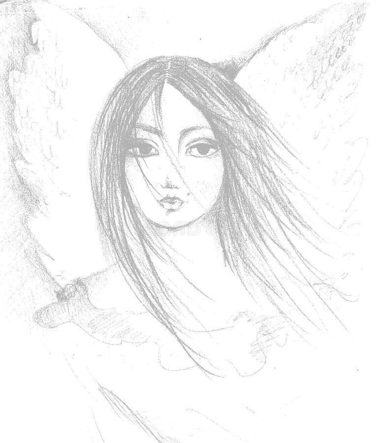 Esboço da face da mulher ilustração stock