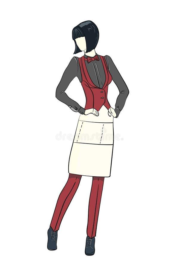 Esboço da forma dos desenhos animados da empregada de mesa Ilustração do vetor imagens de stock
